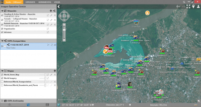 Sentio Screen Shot 10 - Flooded Area with Police checkpoints and Drowning Victim Incident plus Organizational hierarchy