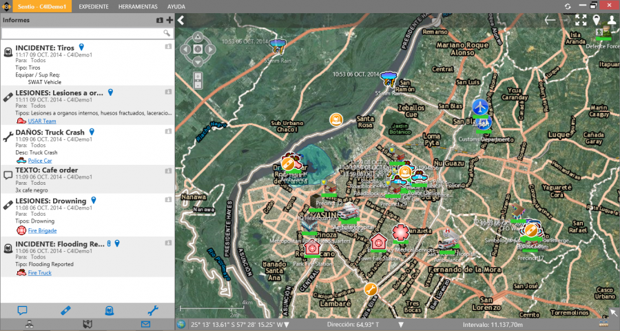 Sentio Screen Shot 5 - City Overview with Reports Displayed